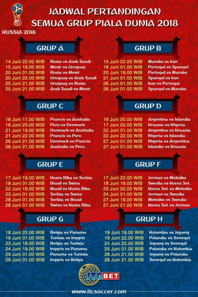 Ini Jadwal dan Preview Laga Piala Dunia 2018 Malam Nanti